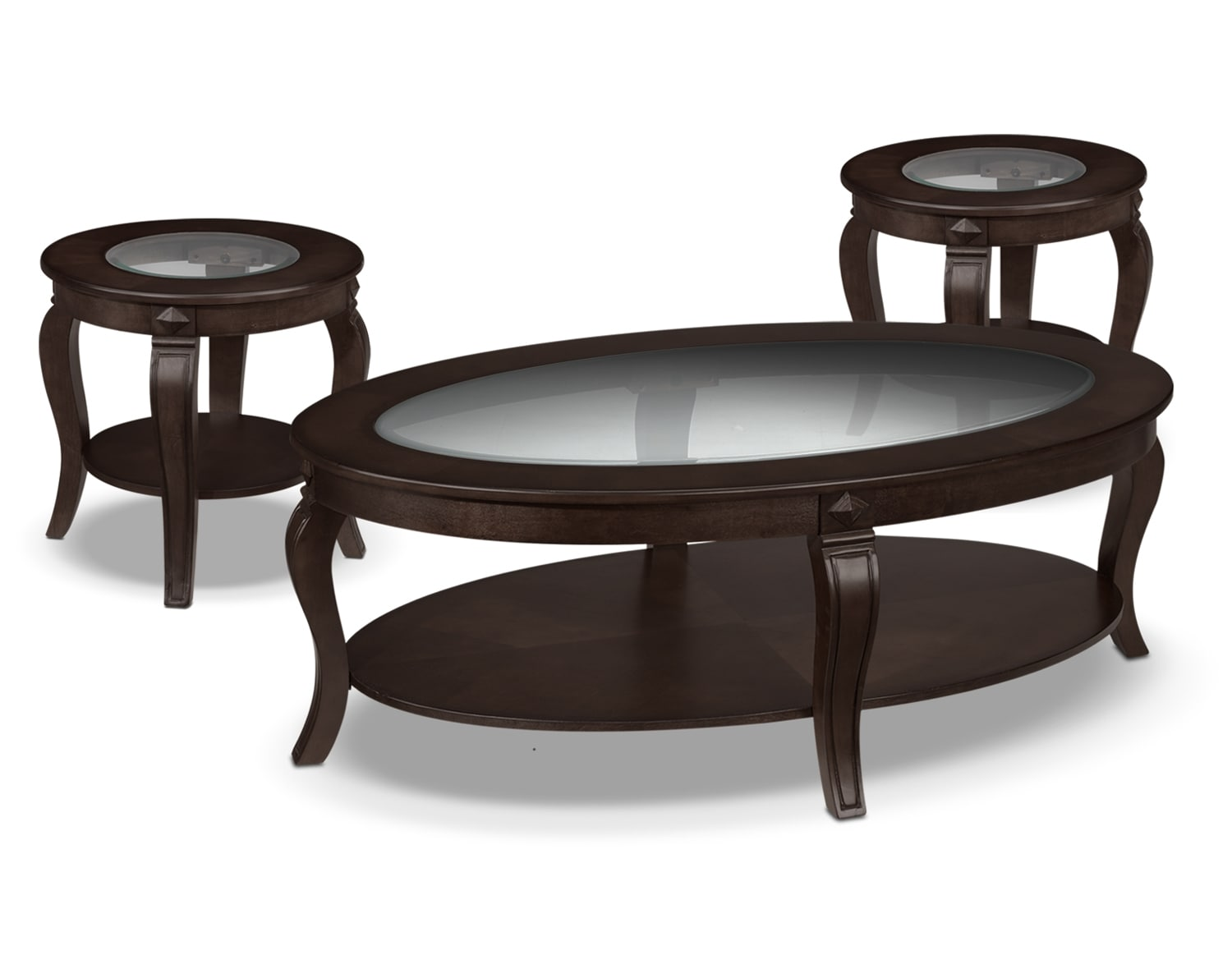 Accent and Occasional Furniture - Madeira Coffee Table and Two End Tables - Chocolate