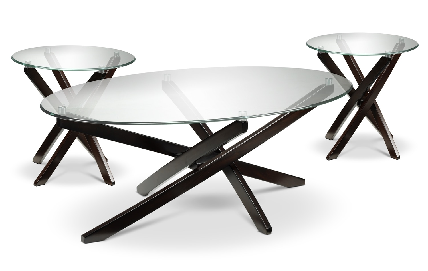 Xenia Coffee Table and Two End Tables - Espresso