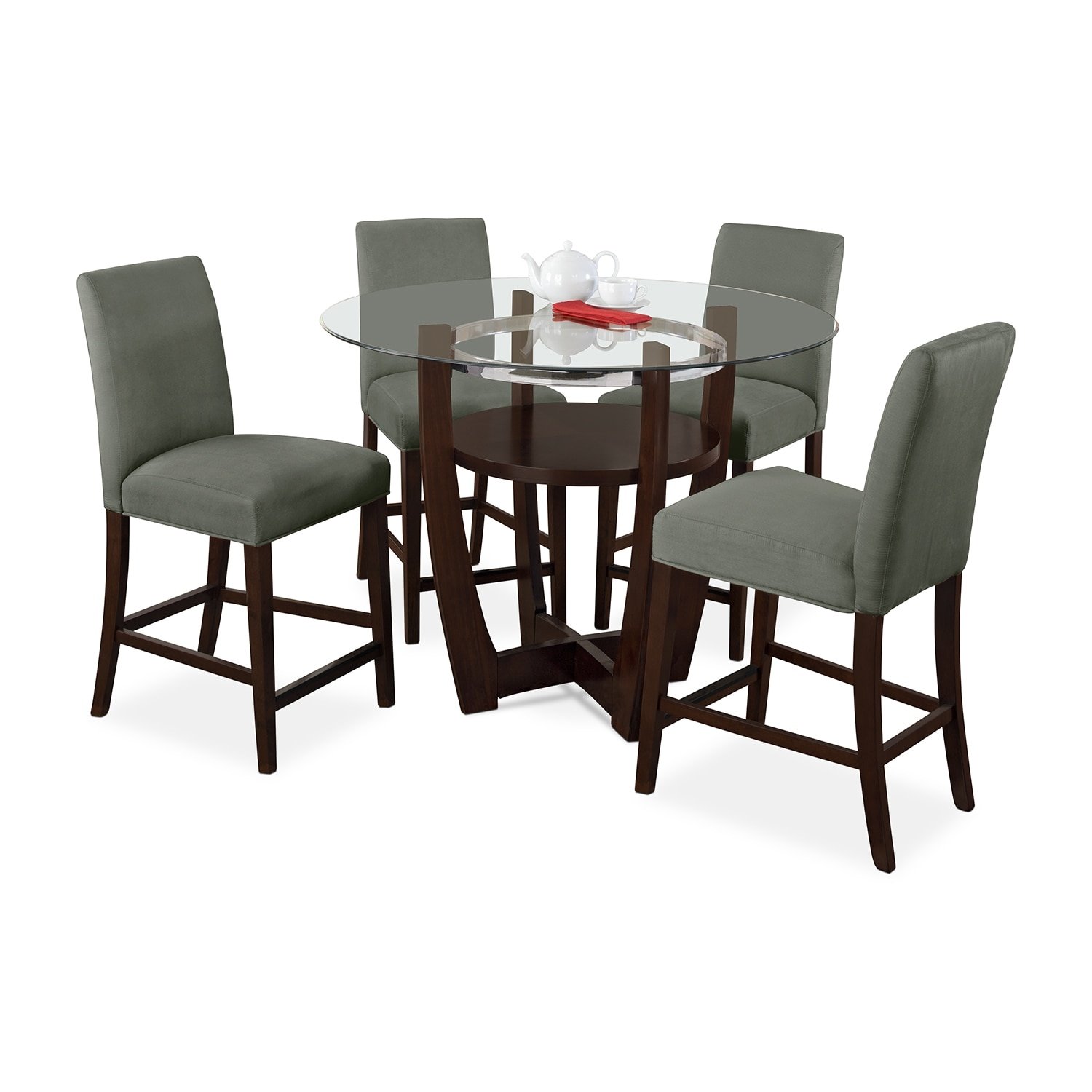 Alcove counter height dinette with 4 side chairs sage for Side chairs for dining table