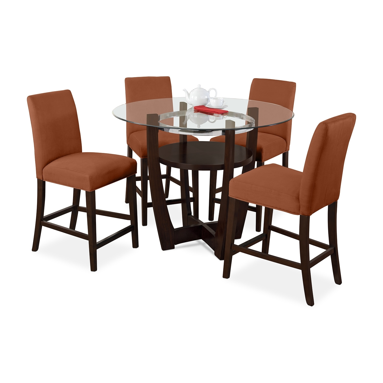Orange Kitchen Table And Chairs: Alcove Counter-Height Dinette With 4 Side Chairs