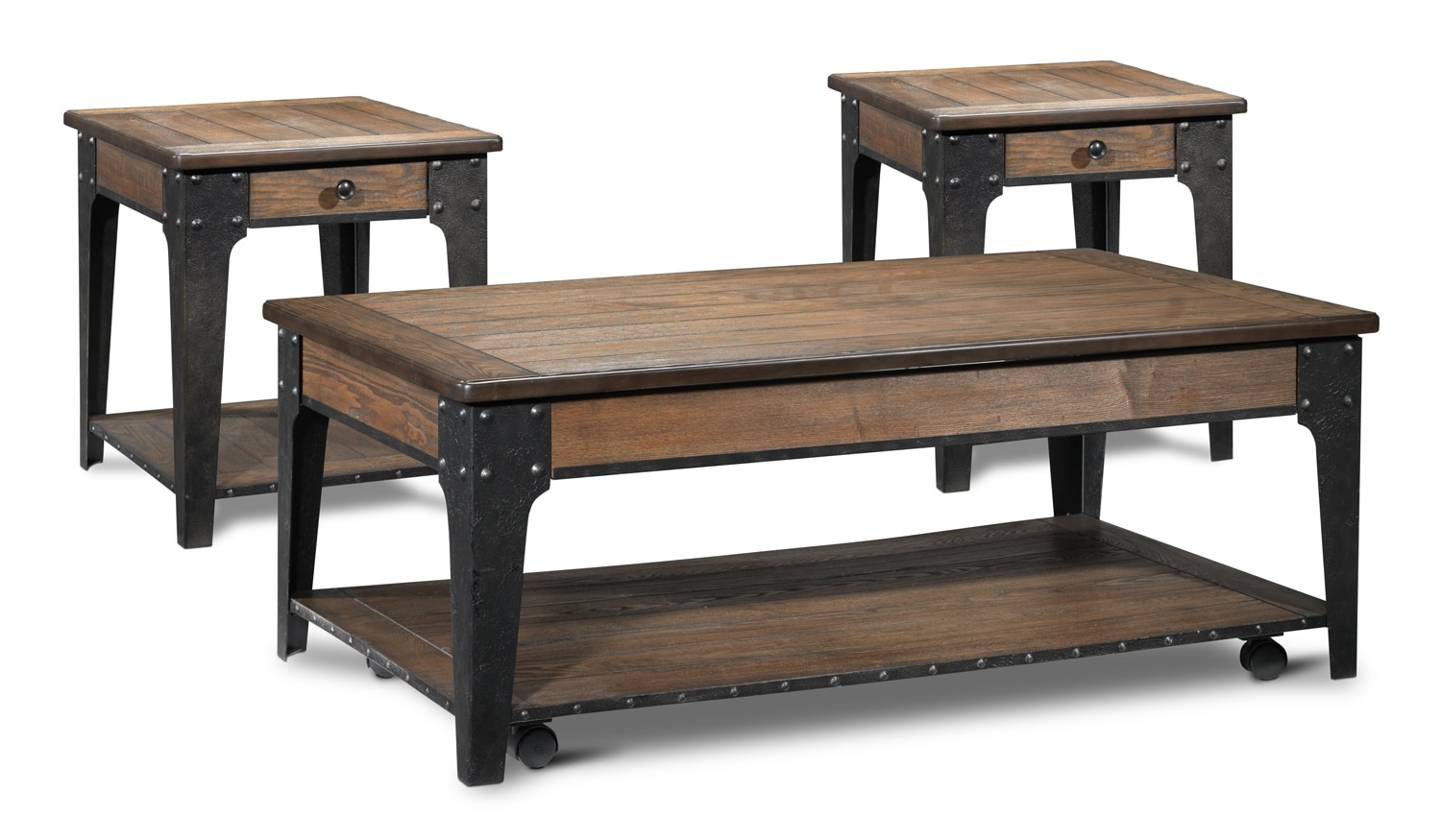Lakehurst Lift Top Coffee Table And Two End Tables   Aged Oak