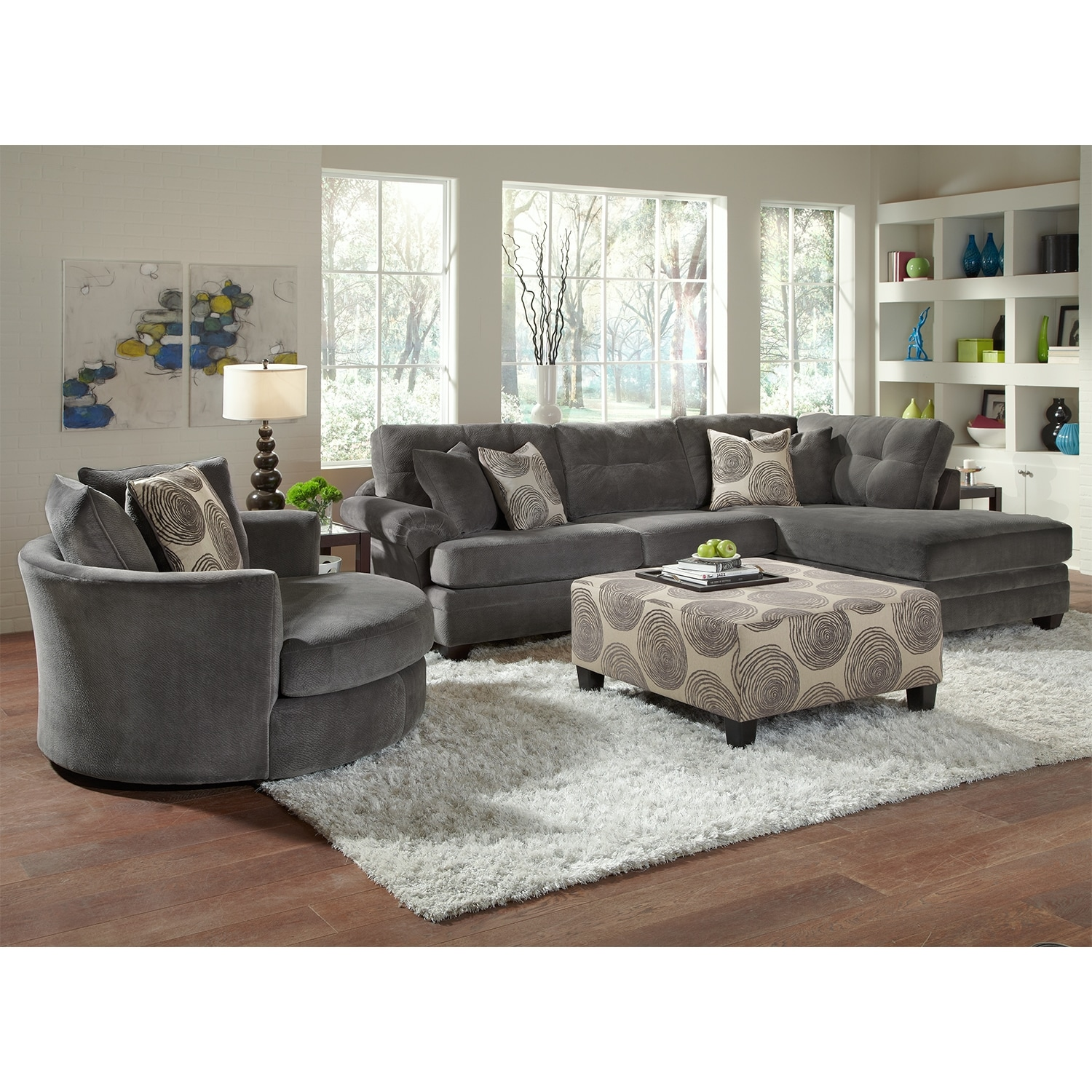 cordoba gray ii 2 pc sectional and swivel chair american signature