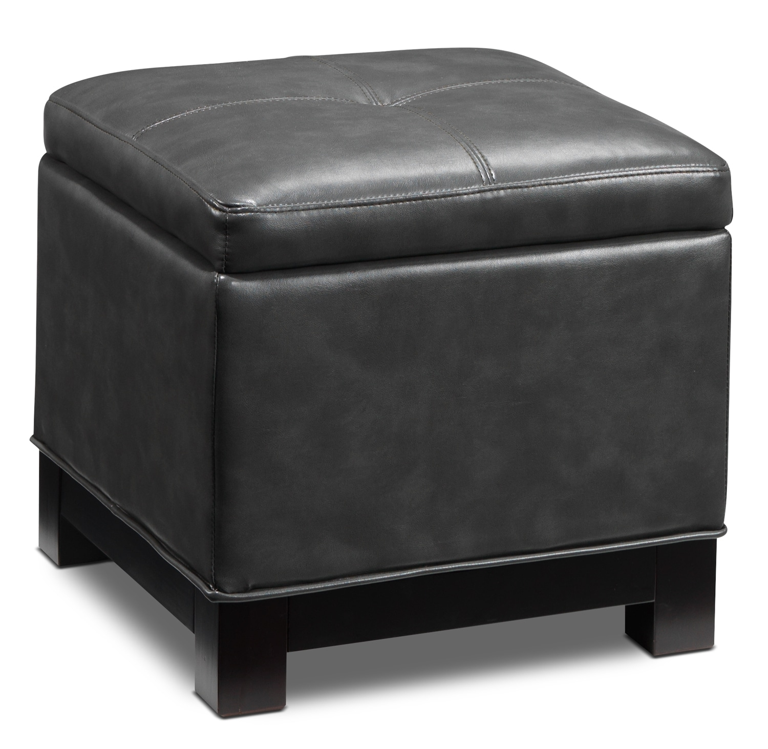 Living Room Furniture - Atlanta Storage Ottoman - Grey