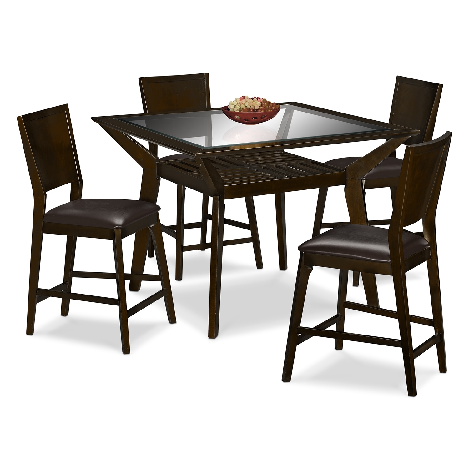 Mystic counter height table and 4 chairs merlot and chocolate value city furniture - Height dining room table ...
