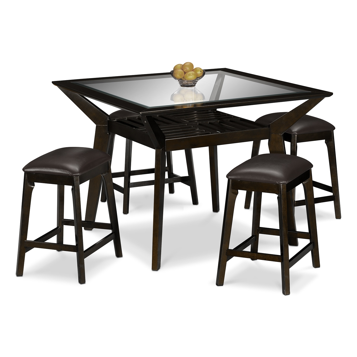 Mystic counter height table and 4 backless stools merlot and chocolate value city furniture - Height dining room table ...