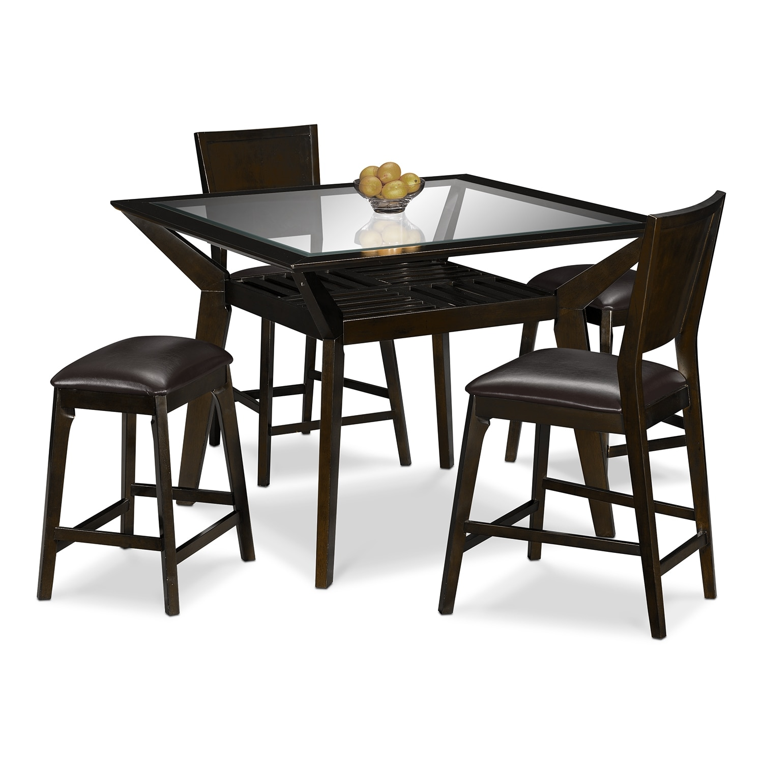 Dining Room Table For 2: Mystic Counter-Height Table, 2 Chairs And 2 Backless