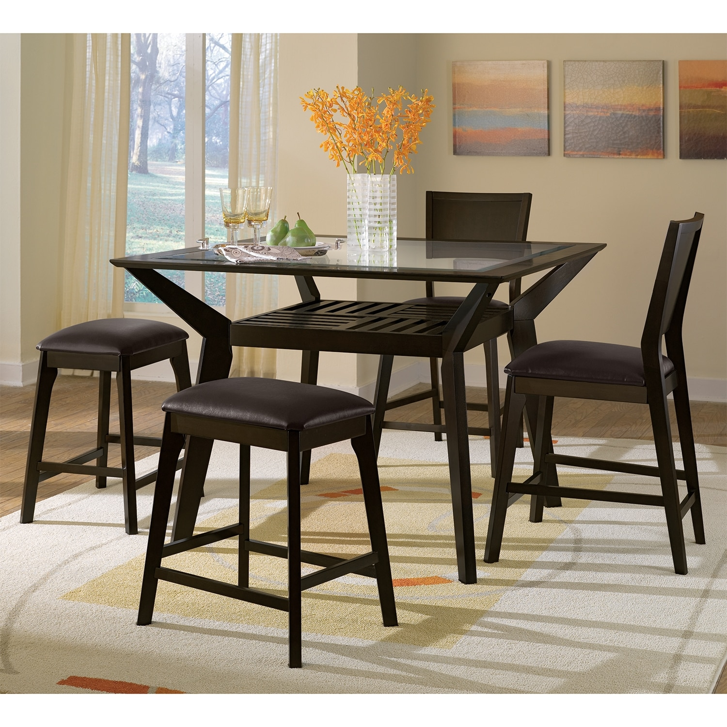 American signature furniture mystic dining room counter height table - Height dining room table ...