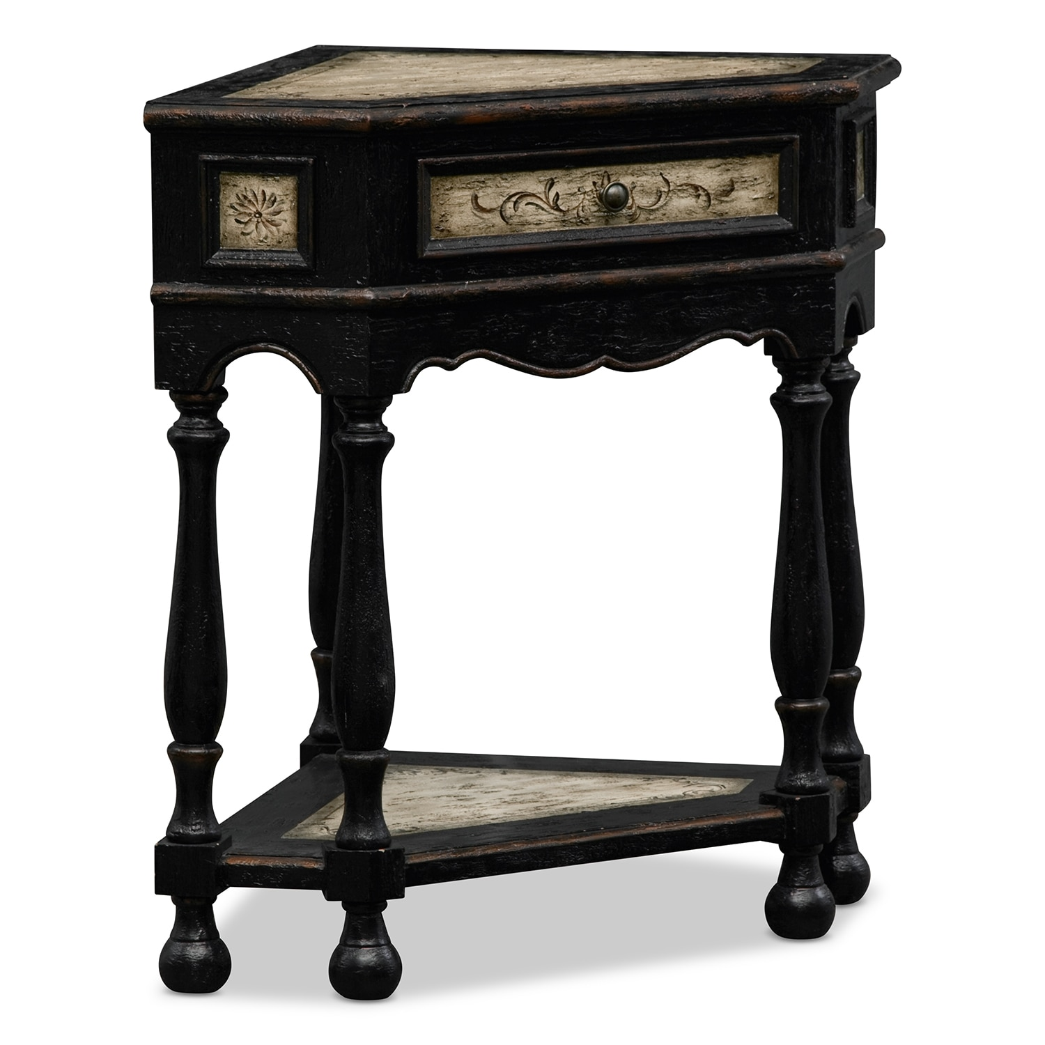 Edgerton accent pieces corner table value city furniture for Accent furniture