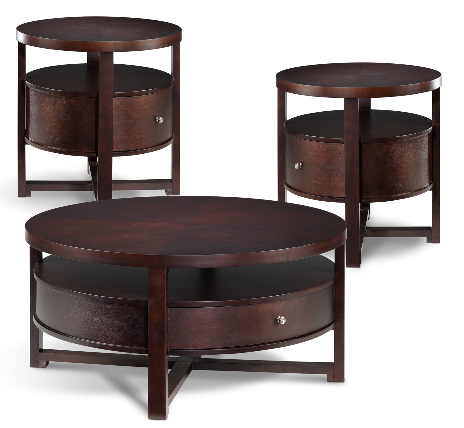 Accent and Occasional Furniture - Compass Coffee Table & Two End Tables Set