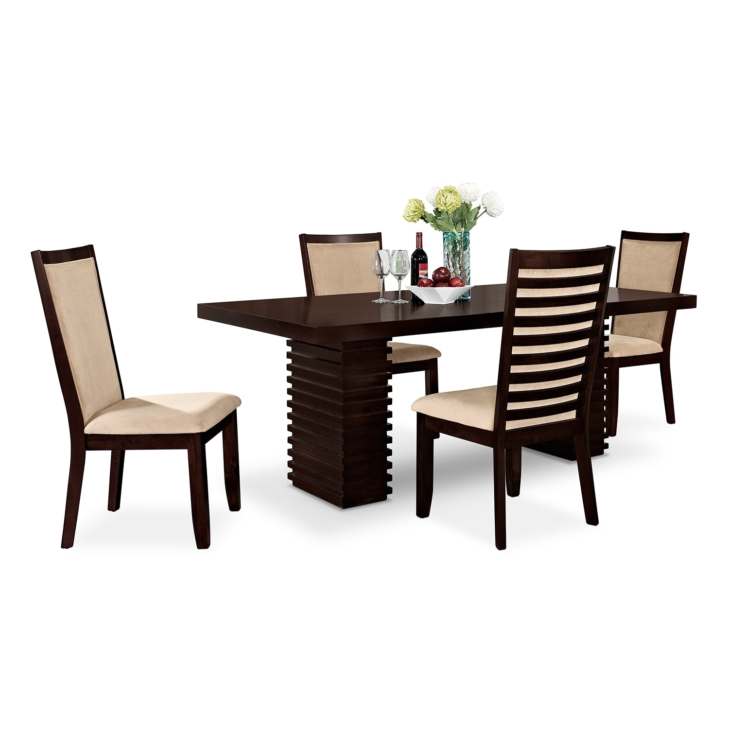 City Furniture Dining Room Paragon Table And 4 Chairs Merlot And Camel Value City Furniture