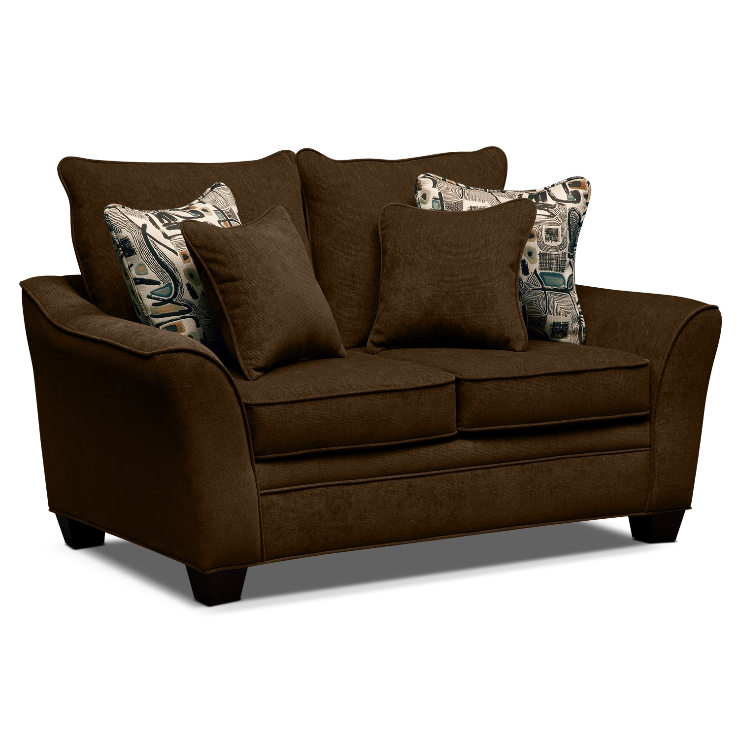 Living Room Furniture - Albion Chocolate Loveseat