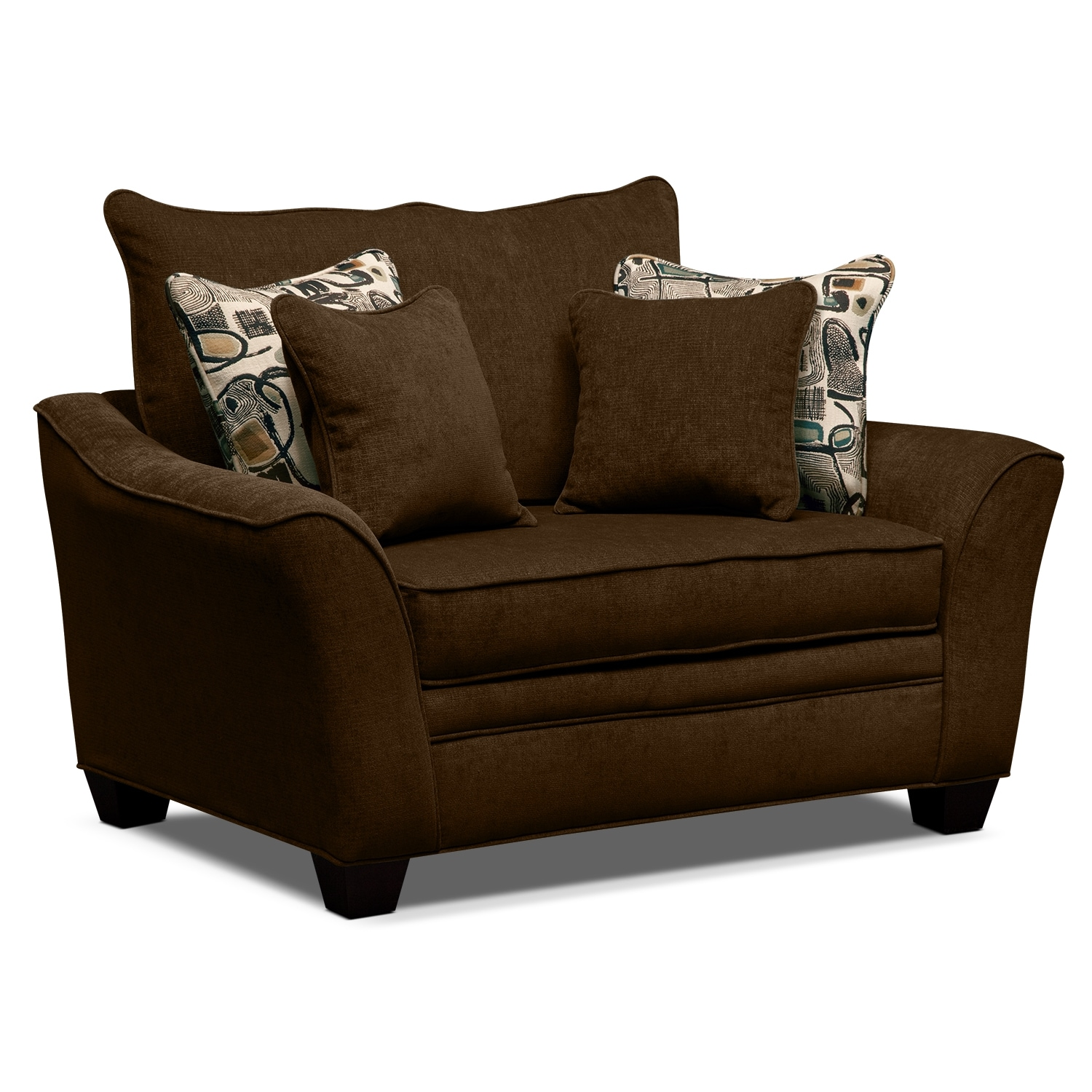 Living Room Furniture - Albion Chocolate Chair and a Half