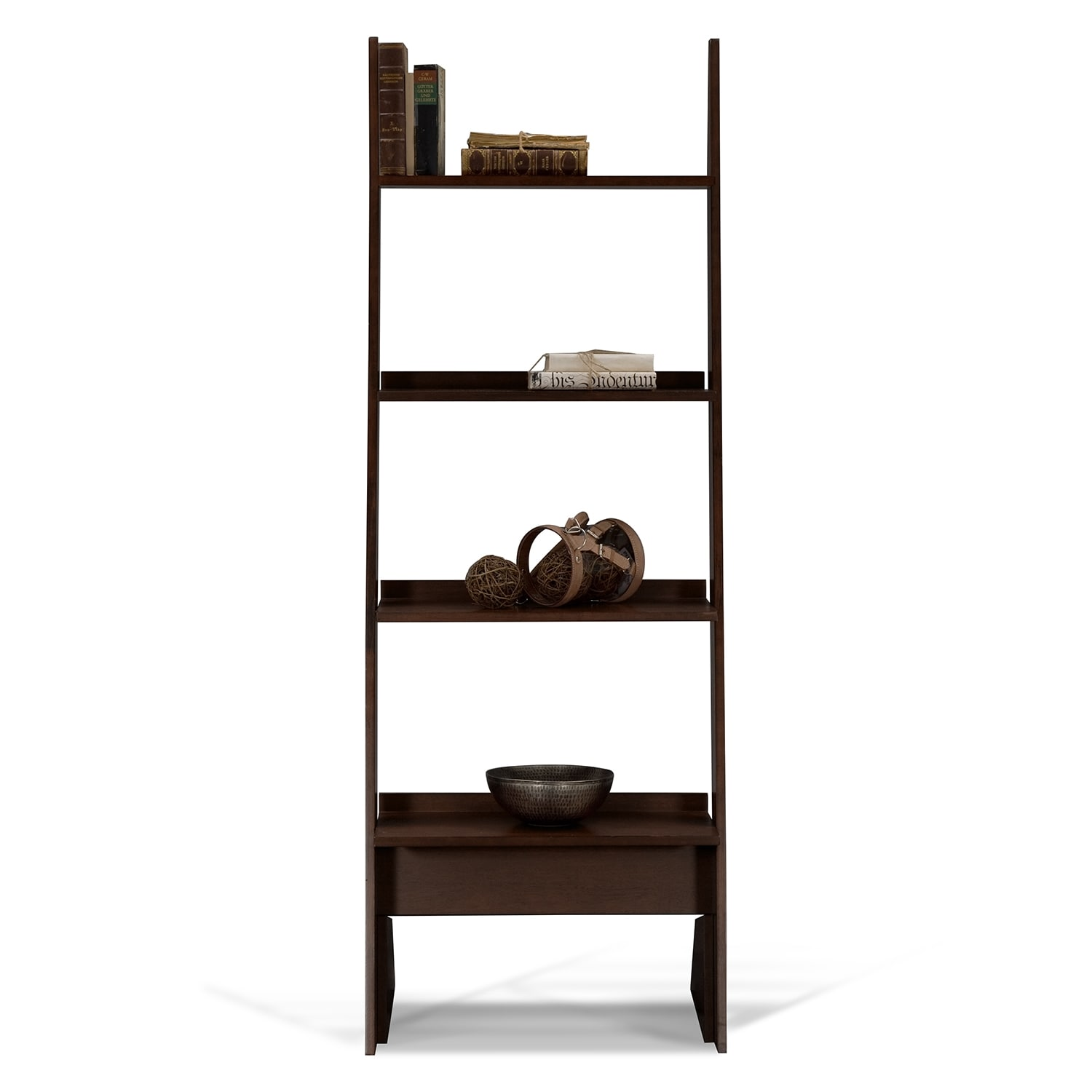 Art crafts leaning bookshelf chocolate american for American signature furniture arts and crafts collection