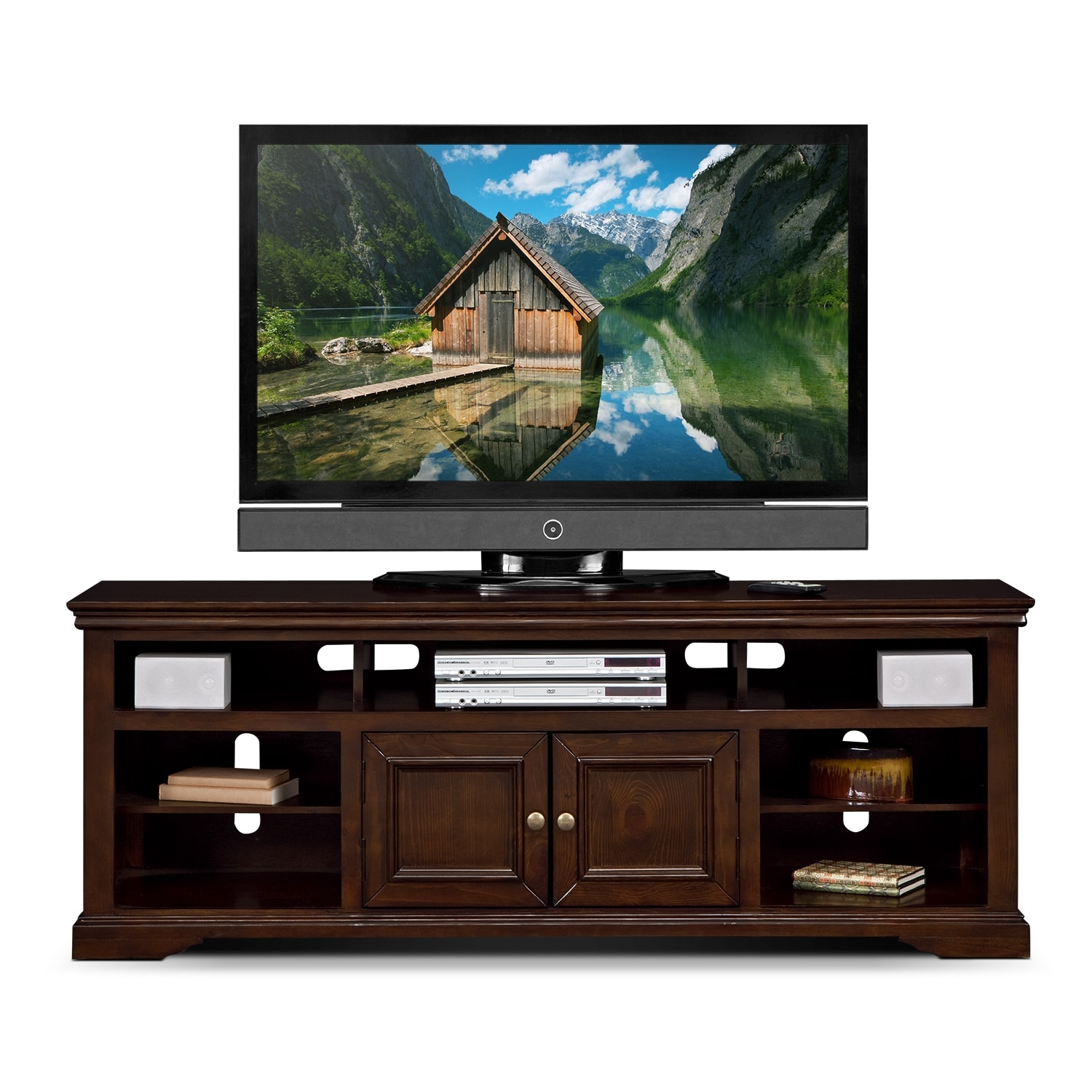 "American Pride Furniture Tv Stand: Jenson 70"" TV Stand - Cherry"