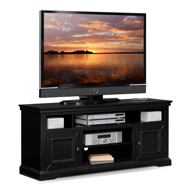 jenson 60 tv stand black american signature furniture. Black Bedroom Furniture Sets. Home Design Ideas