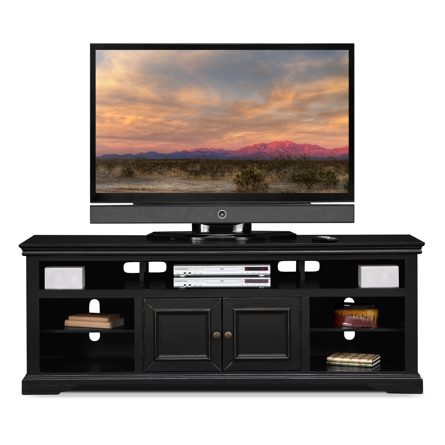 70 tv stand jenson 70 quot tv stand black value city furniture 28516
