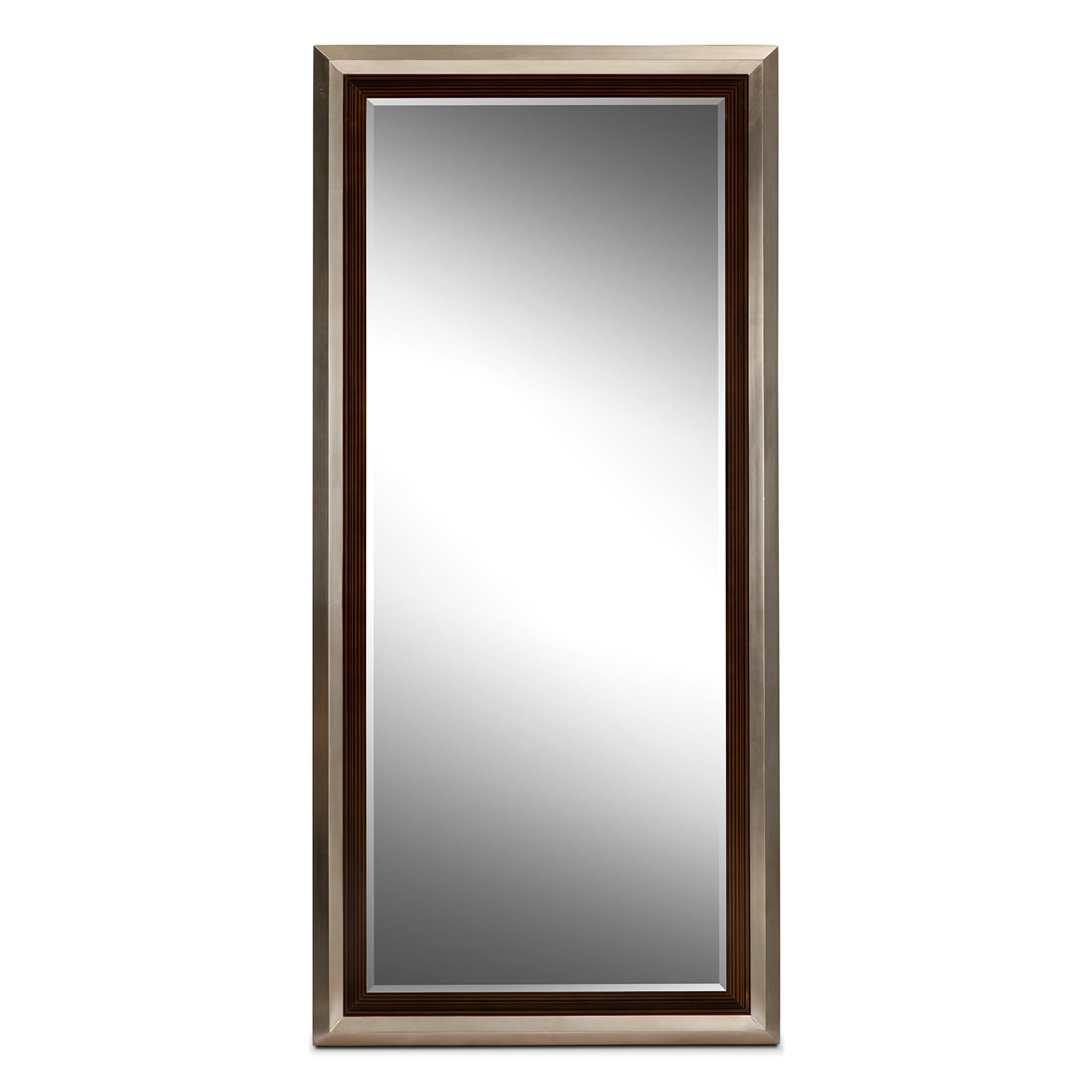 Jensen Floor Mirror Silver And Walnut Value City Furniture