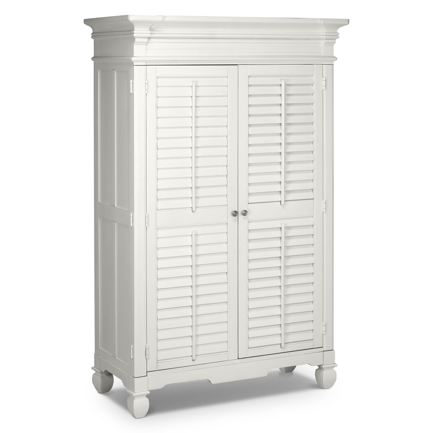 Bedroom Furniture-Magnolia White Armoire