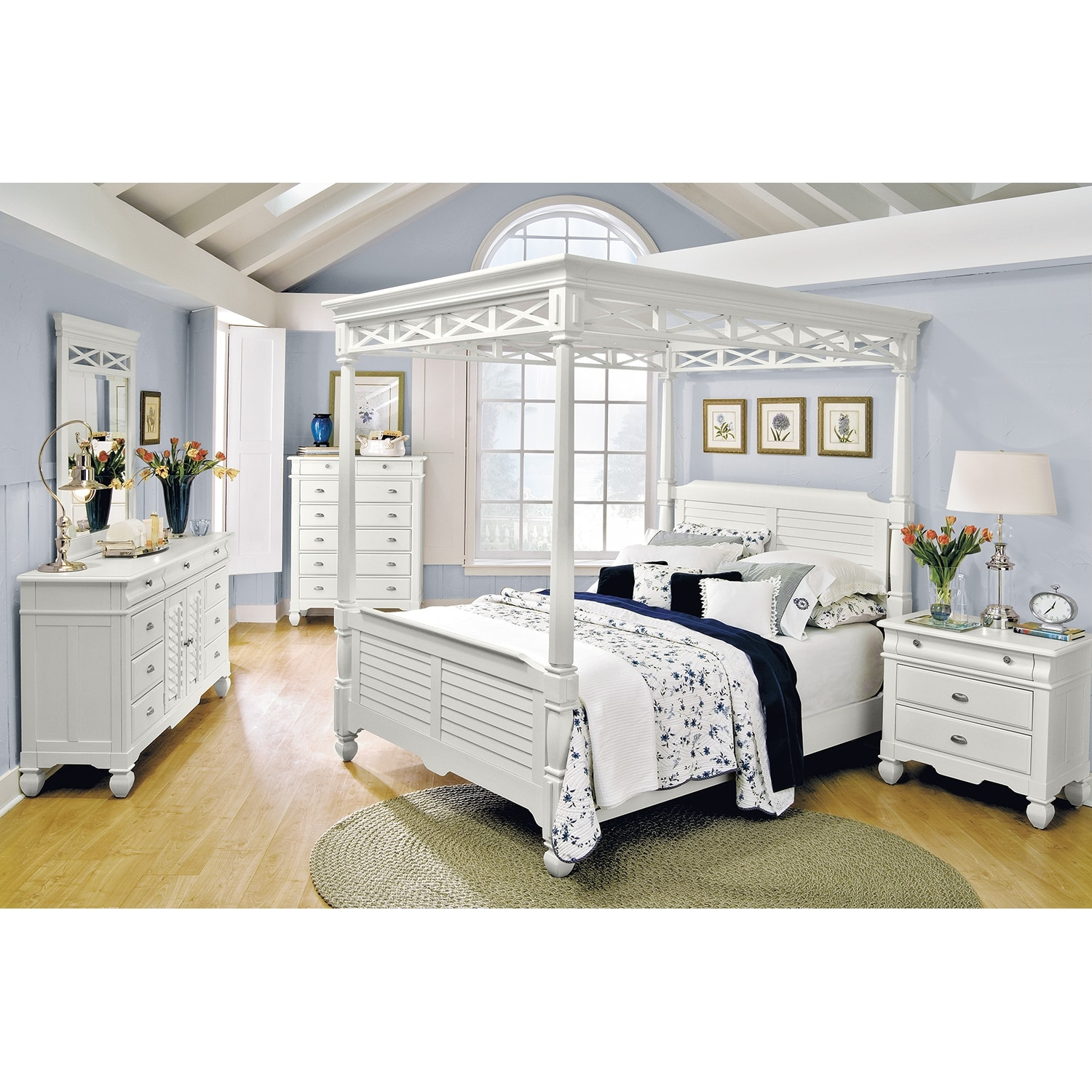 Plantation cove white canopy bedroom queen bed american for White bed set furniture