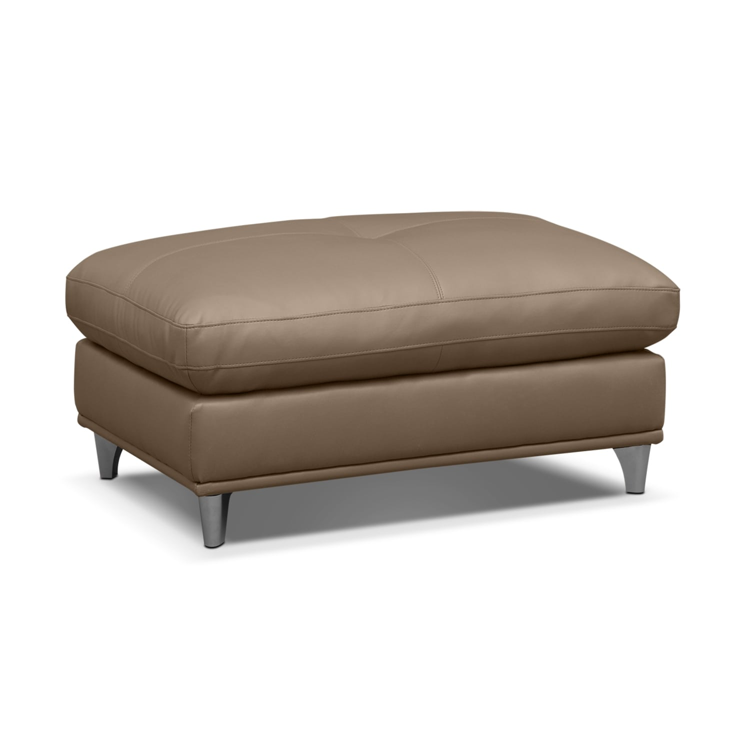 Mystique leather cocktail ottoman value city furniture for Living room ottoman