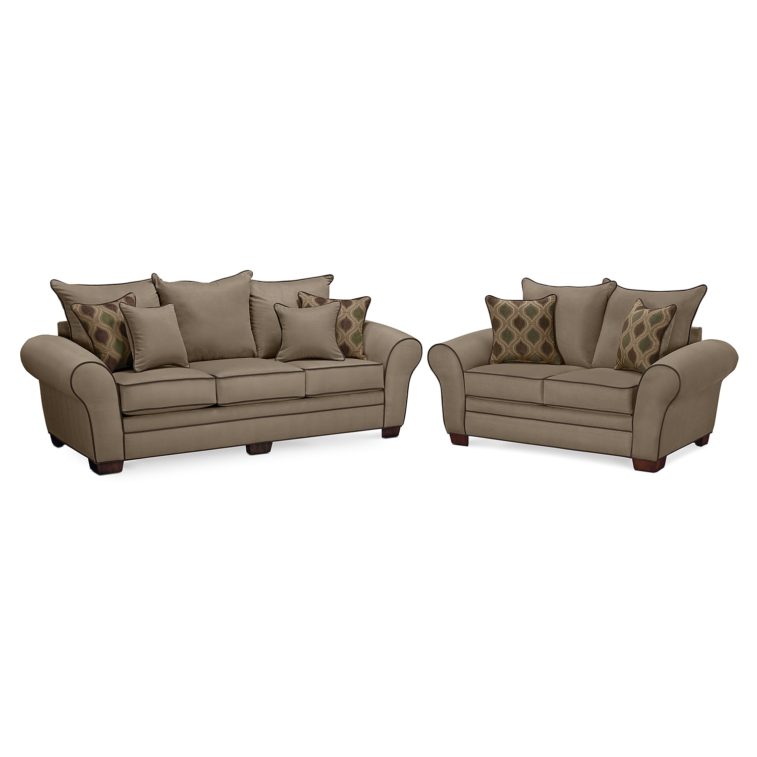 Rendezvous sofa and loveseat set tan american for Lounge room furniture packages