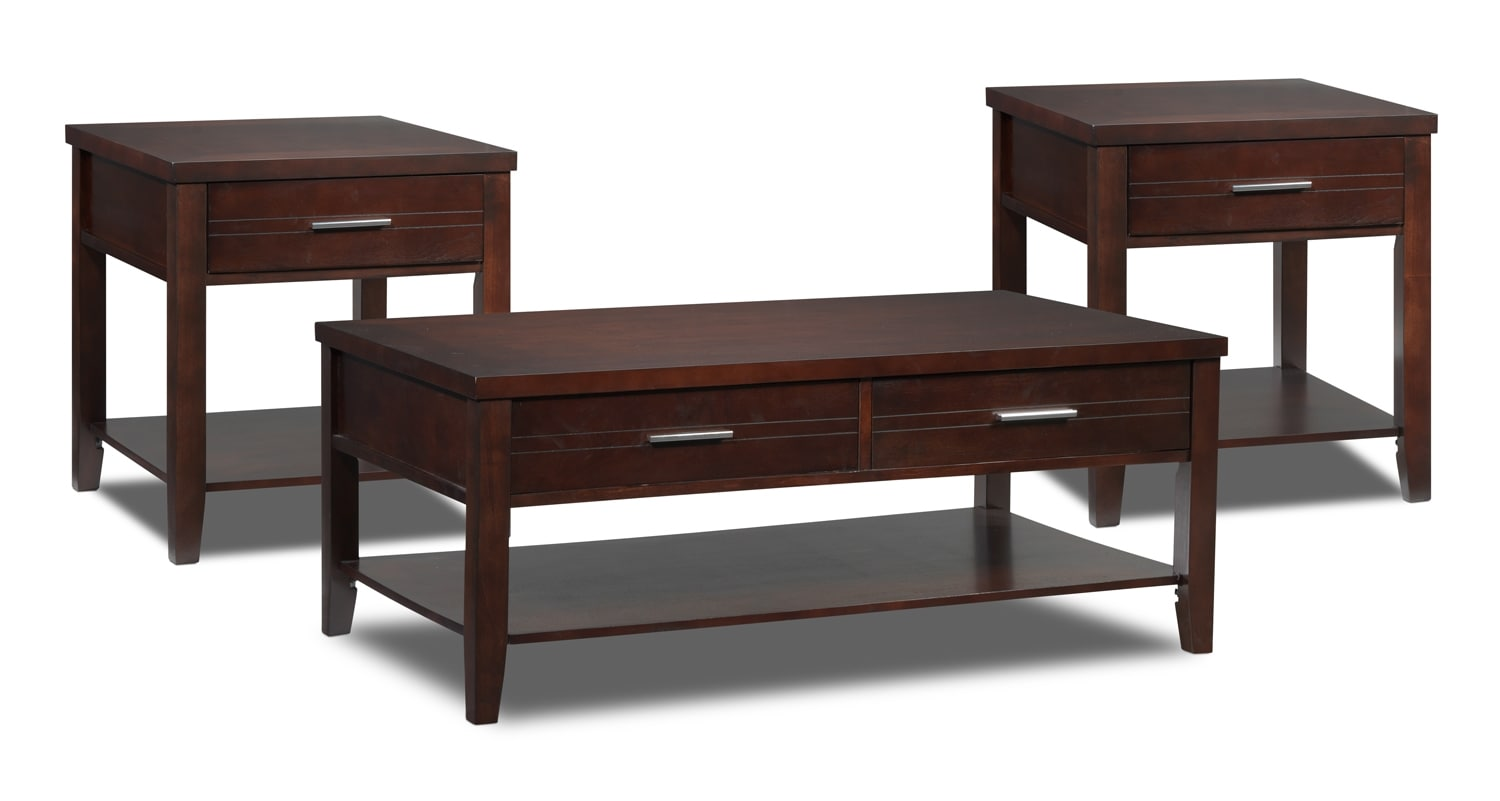 Gloria Lift-Top Coffee Table and Two End Tables - Espresso