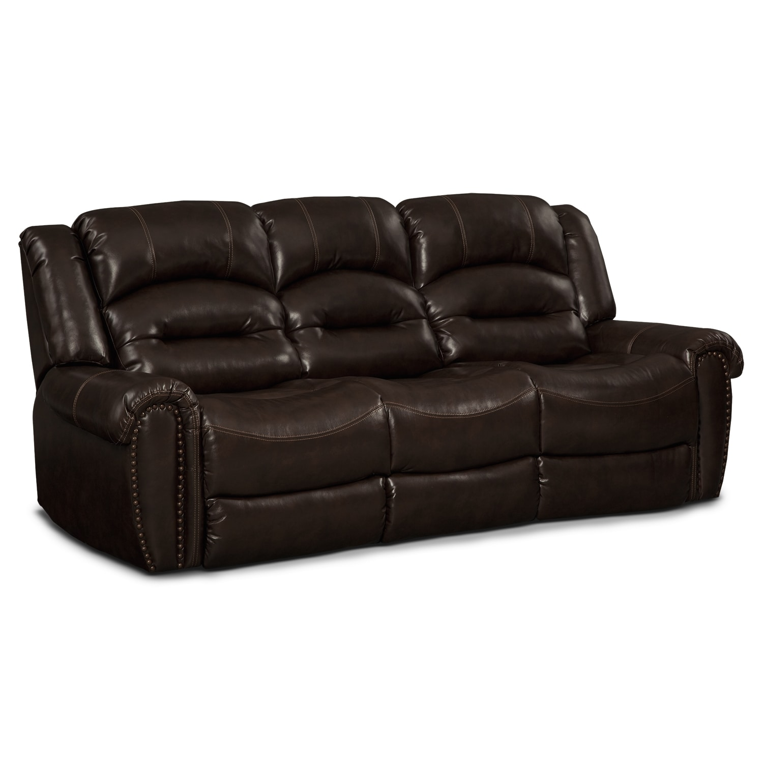 Galveston leather dual reclining sofa value city furniture for Leather reclining sofa