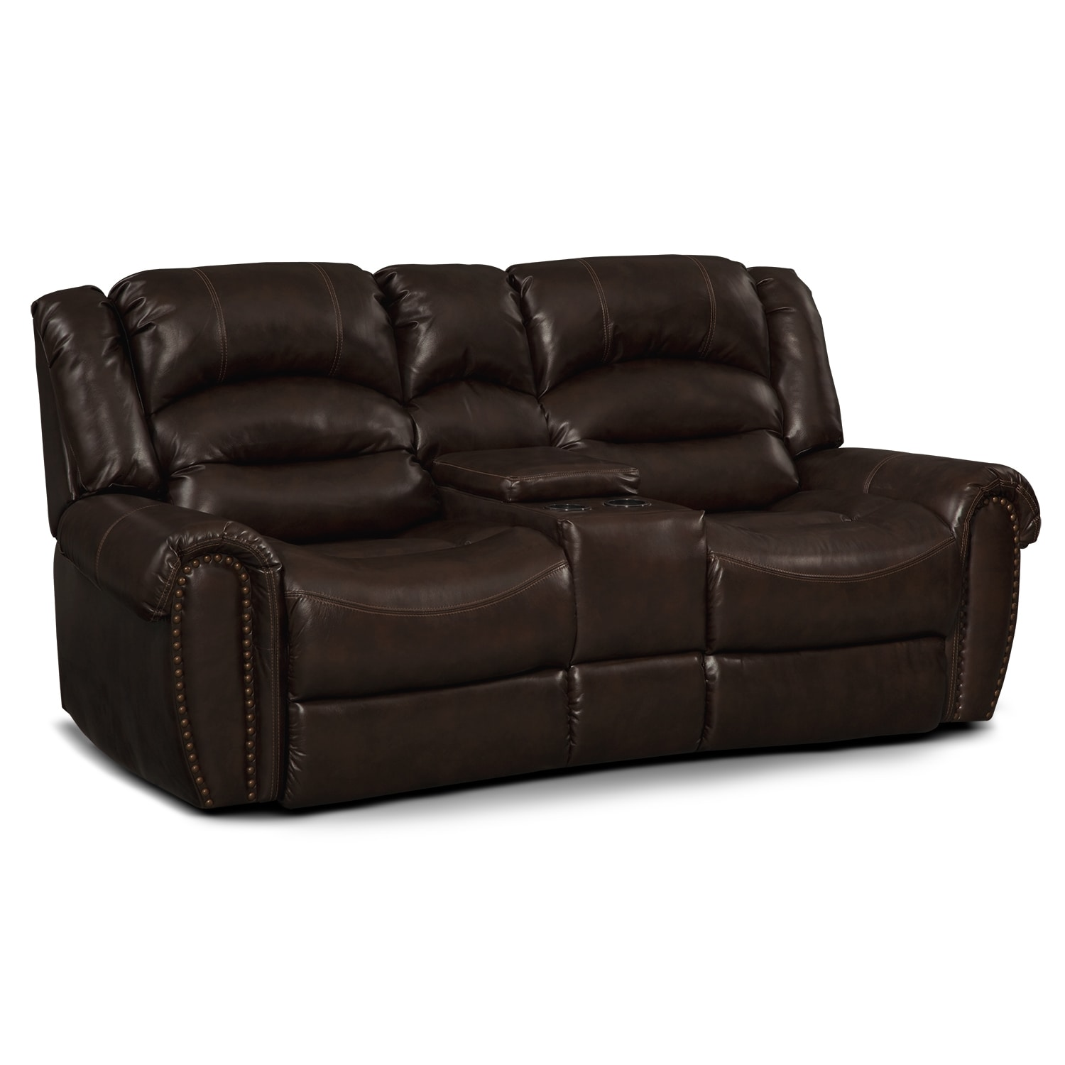 Galveston leather dual reclining loveseat value city furniture Leather loveseat recliners