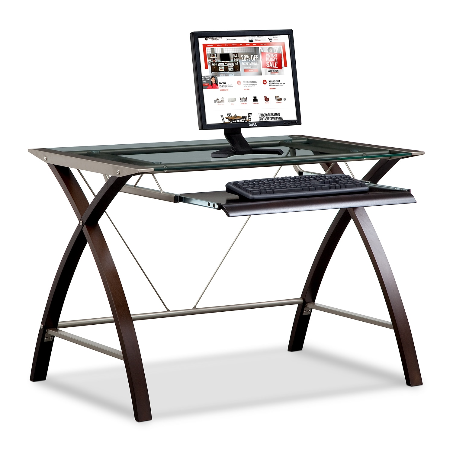 Orion Computer Desk With Keyboard Tray Merlot And