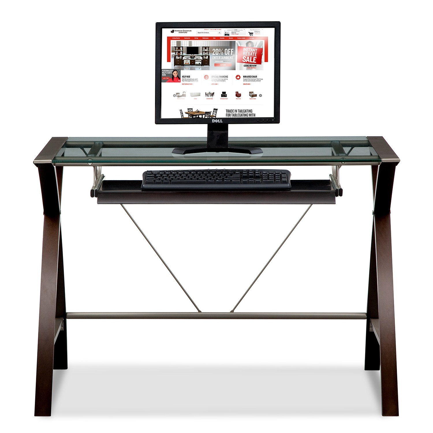 Orion Computer Desk with Keyboard Tray | Value City Furniture