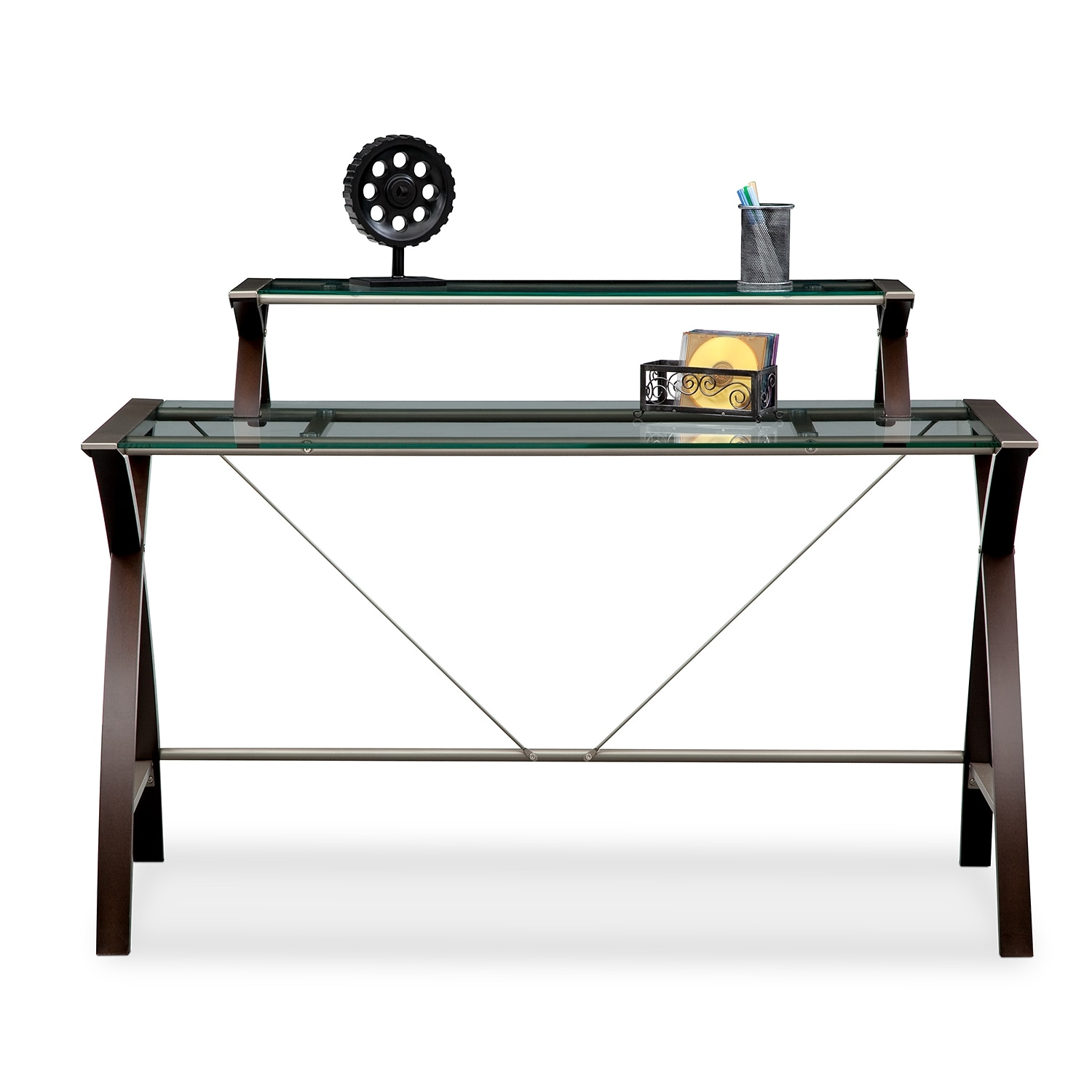 Orion desk with hutch merlot and champagne value city furniture - Value city office desk ...