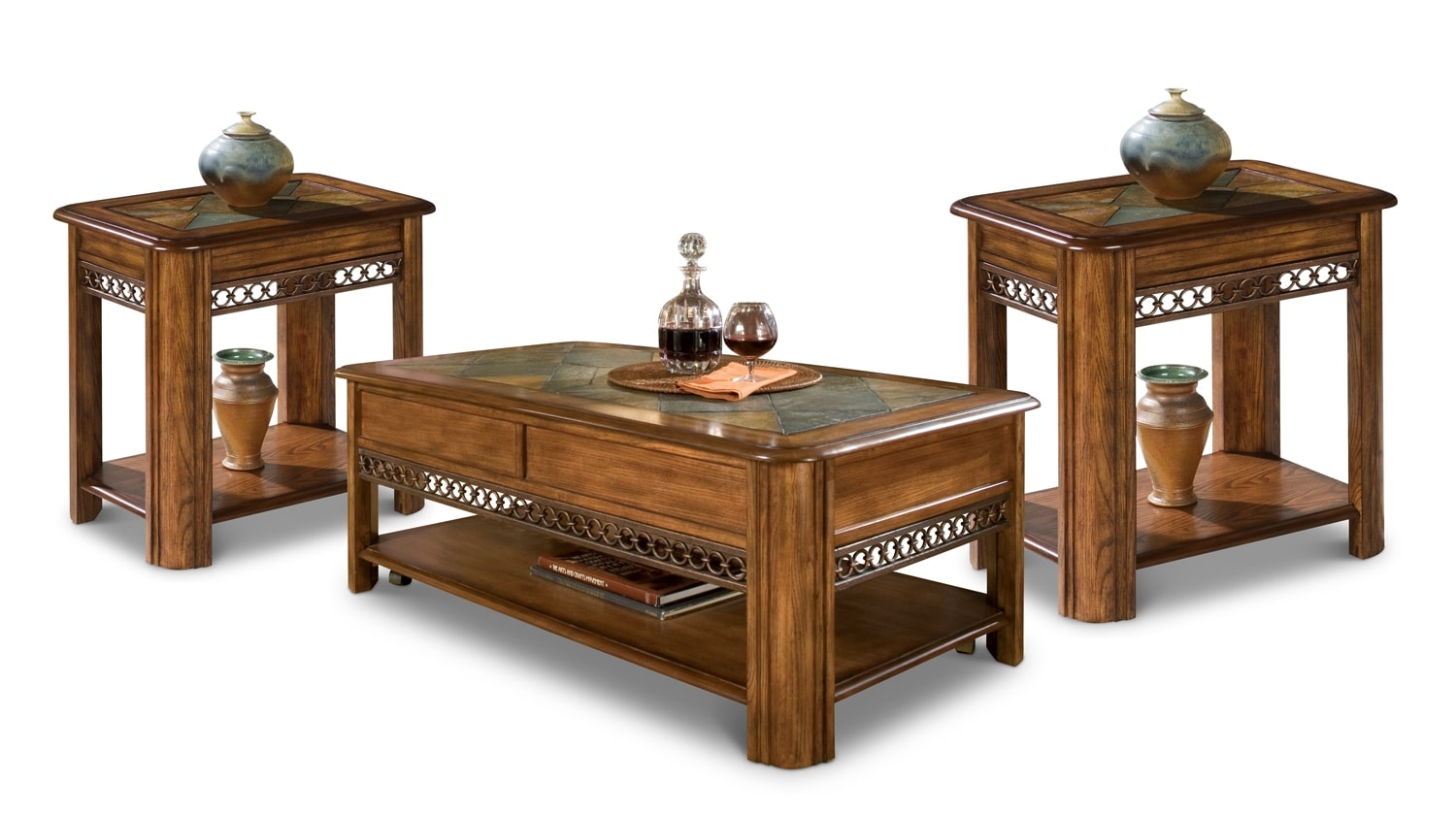 Accent and Occasional Furniture - Madison Coffee Table and Two End Tables - Nutmeg
