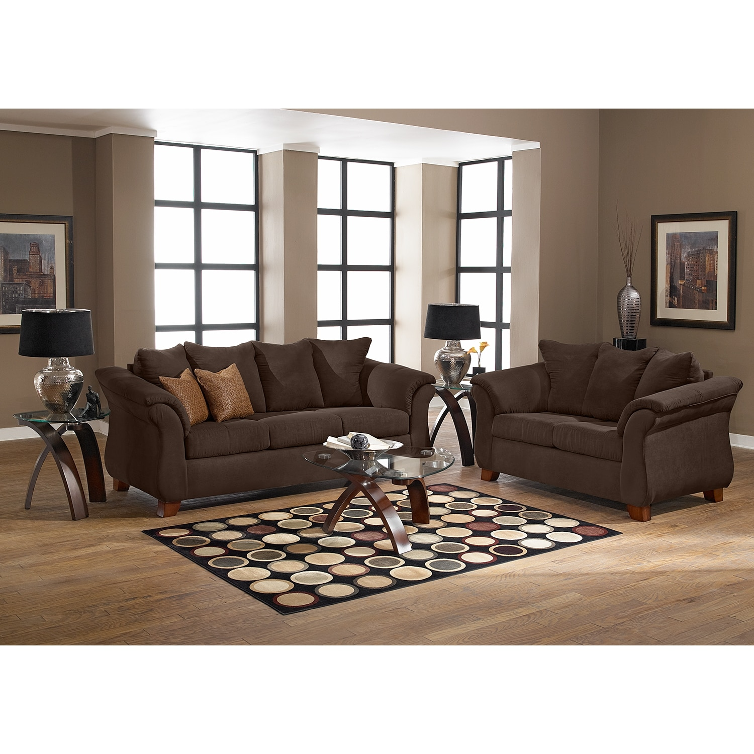 Adrian sofa and loveseat set chocolate value city furniture