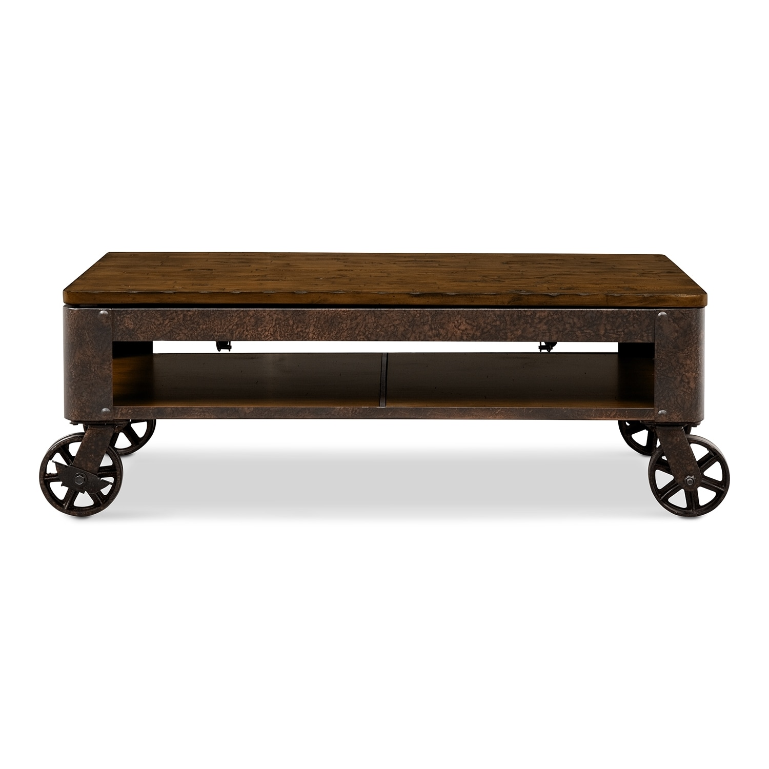 Shortline lift top cocktail table distressed pine american signature furniture Antique wheels for coffee table