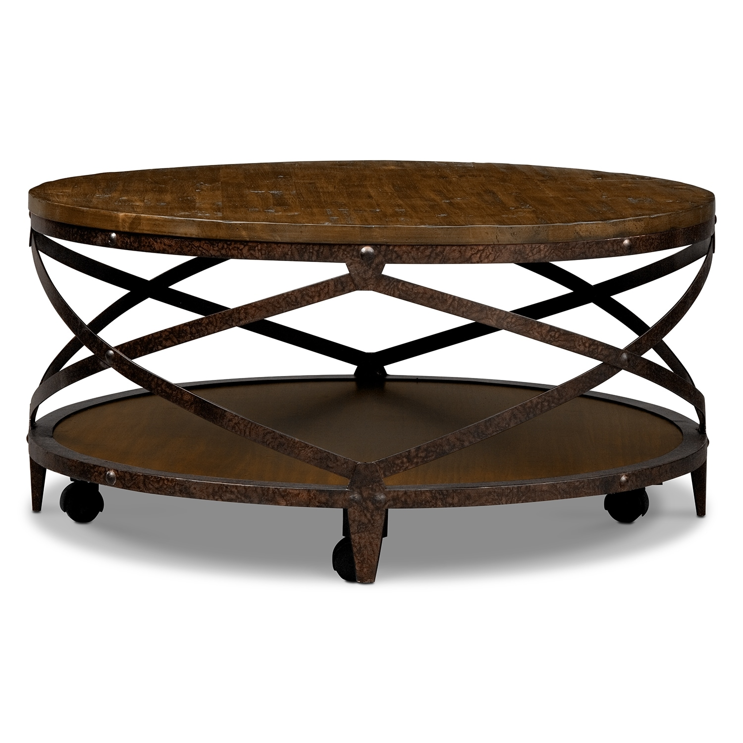 Shortline cocktail table distressed pine value city for Living coffee table