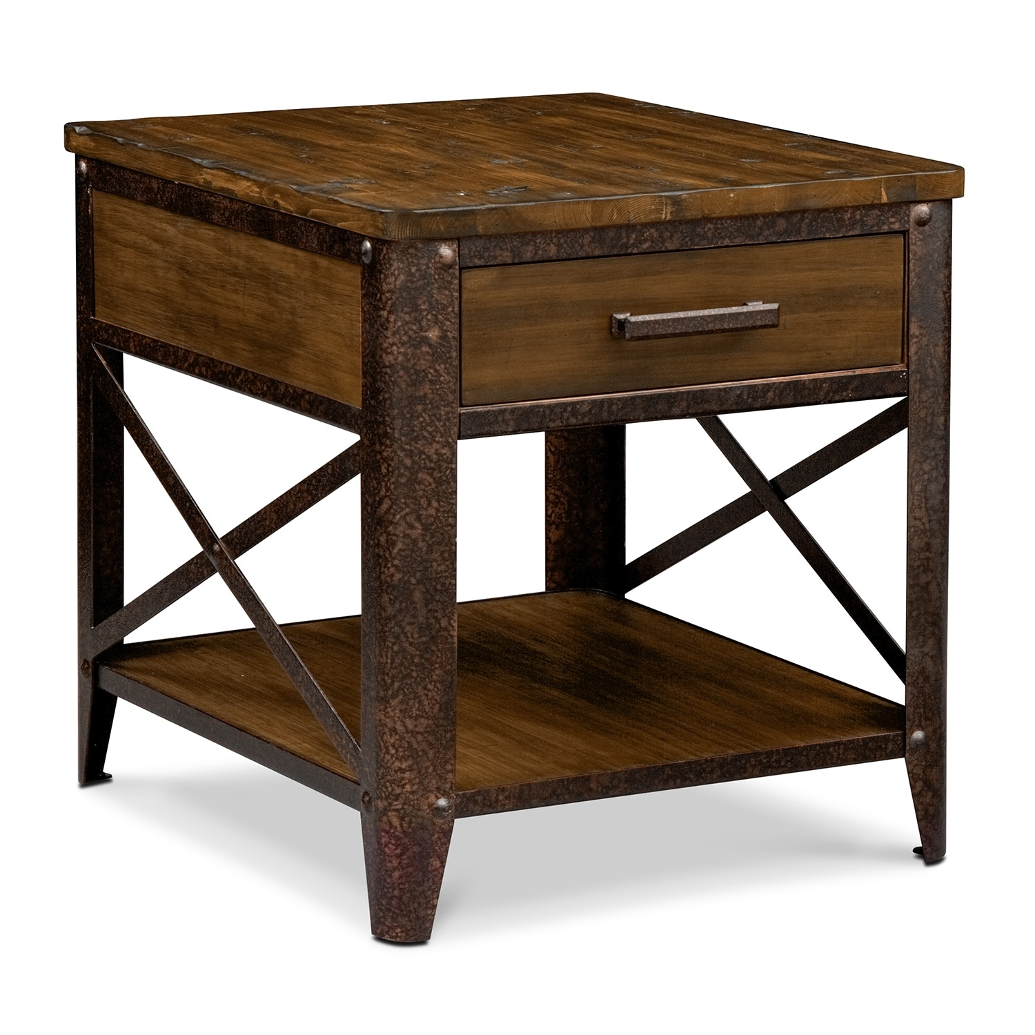 Shortline end table distressed pine value city furniture for Occasional tables