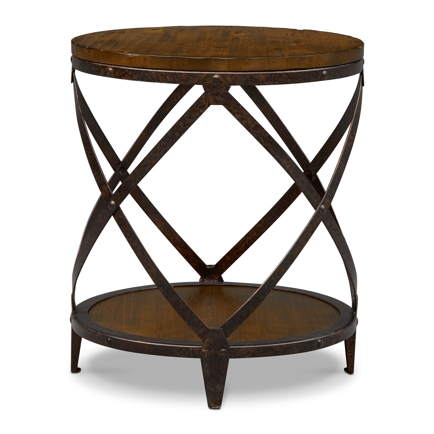 Shortline round end table distressed pine value city for Accent end tables