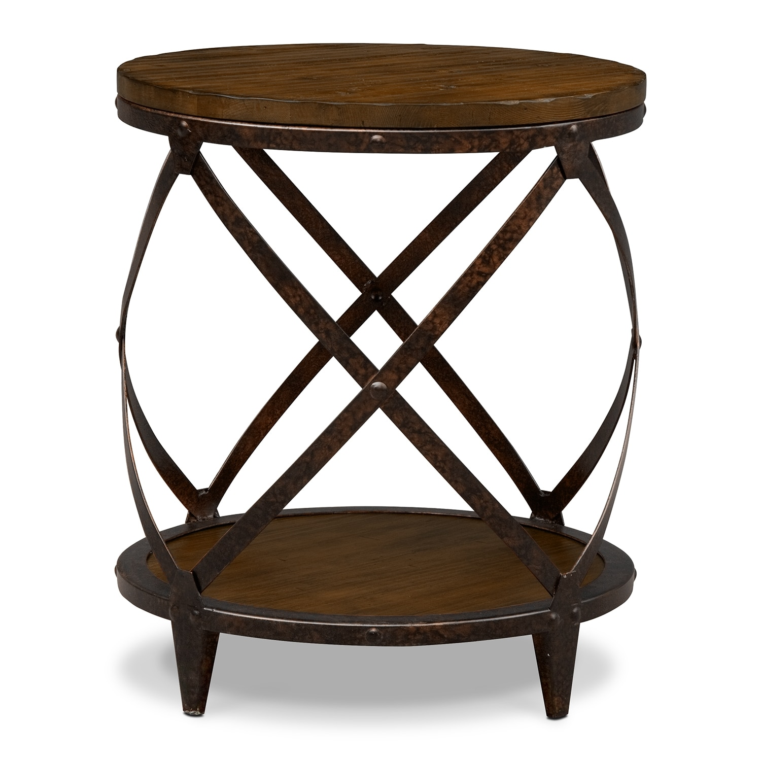 Shortline round end table value city furniture for Round side table