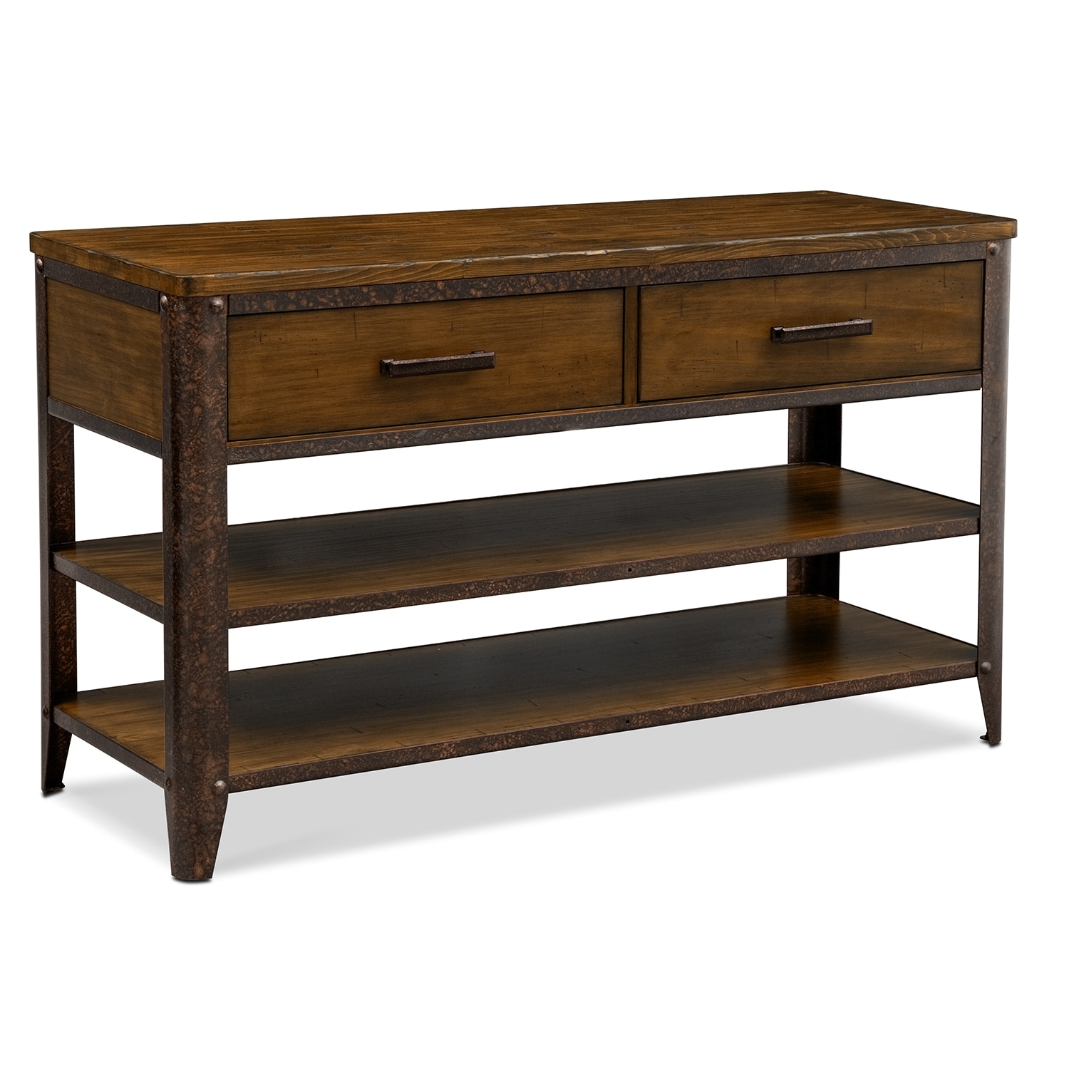 Shortline sofa table distressed pine value city furniture for Occasional furniture