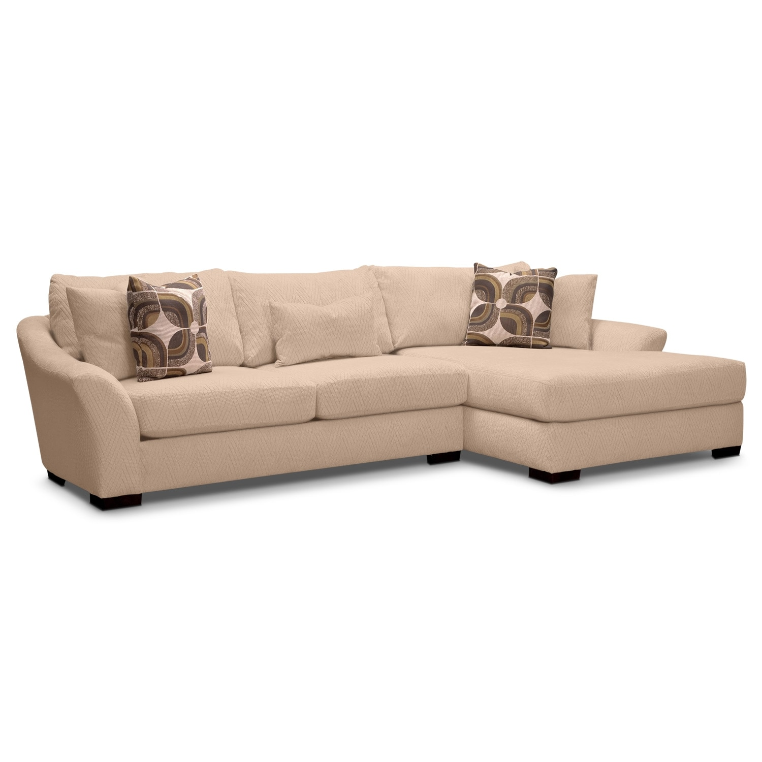 Orleans Cream 2 Pc Sectional Reverse And Ottoman