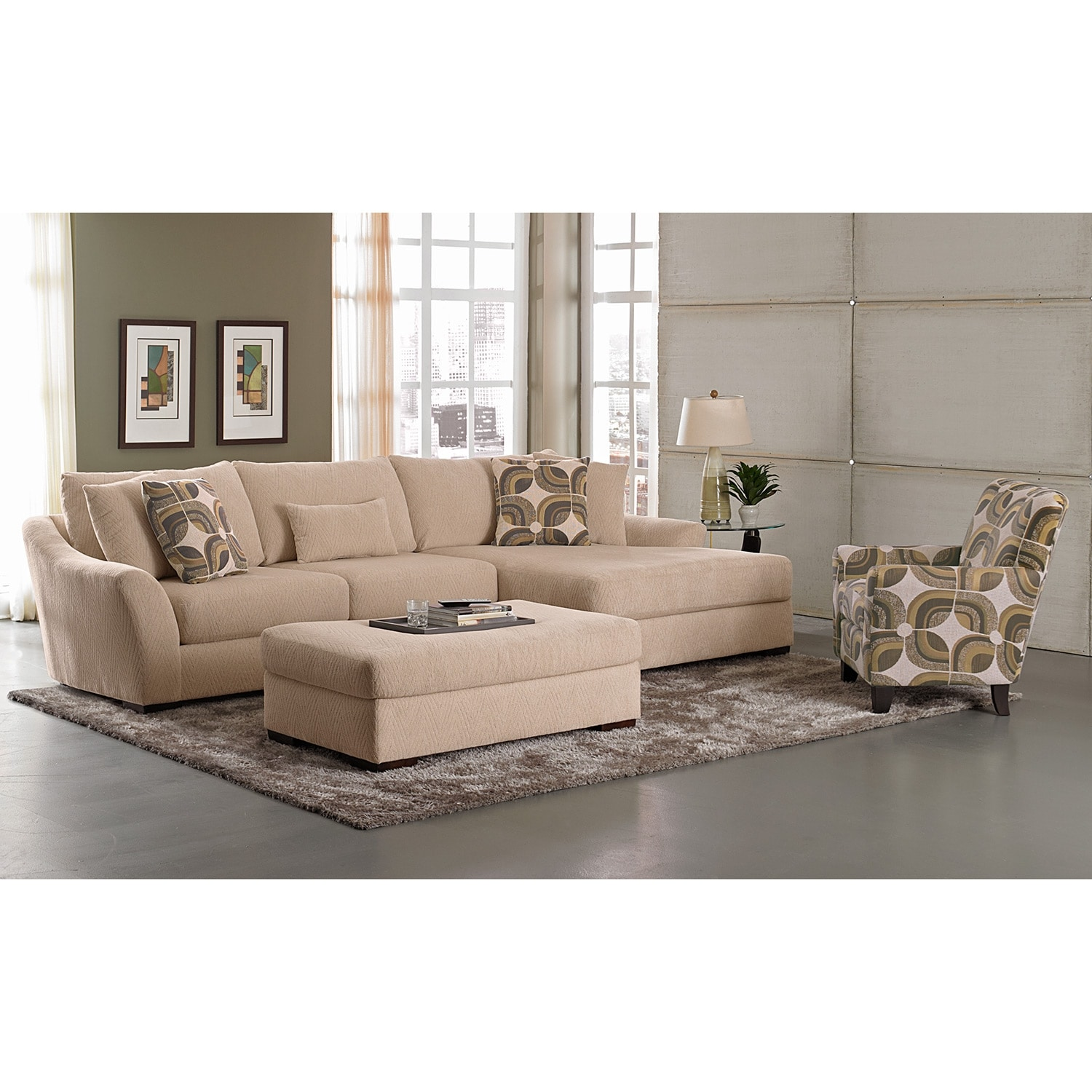 Oasis Ii Upholstery 2 Pc Sectional Reverse And Accent Chair Value City Furniture