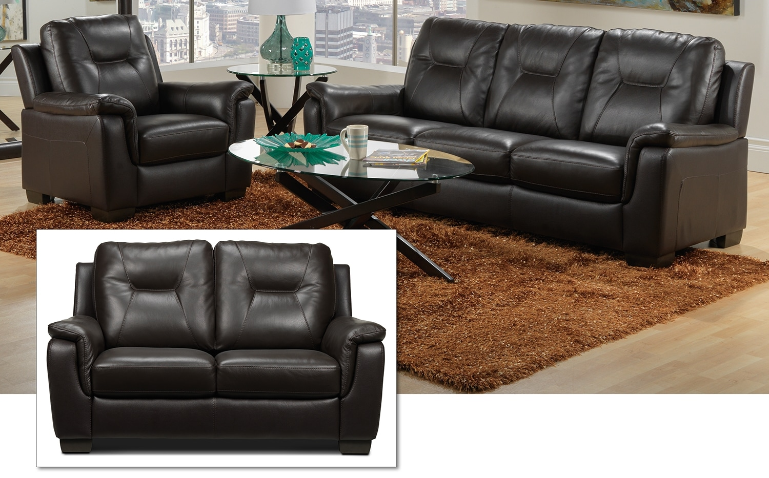 Dalia Sofa, Loveseat and Chair Set - Espresso