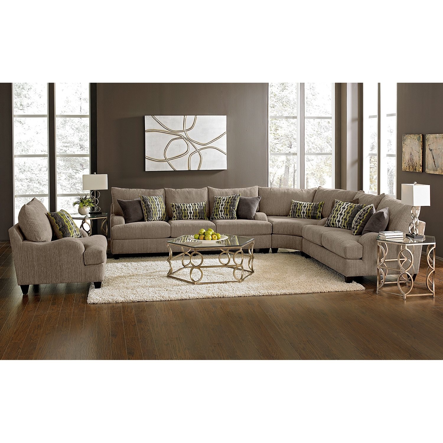 Hollister ii 3 piece sectional for Living room furniture collections