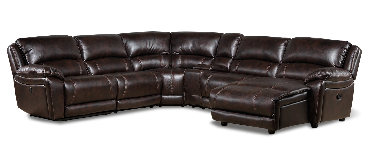Living Room Furniture - Santorini 6 Pc. Power Sectional w/Right-Facing Chaise - Walnut