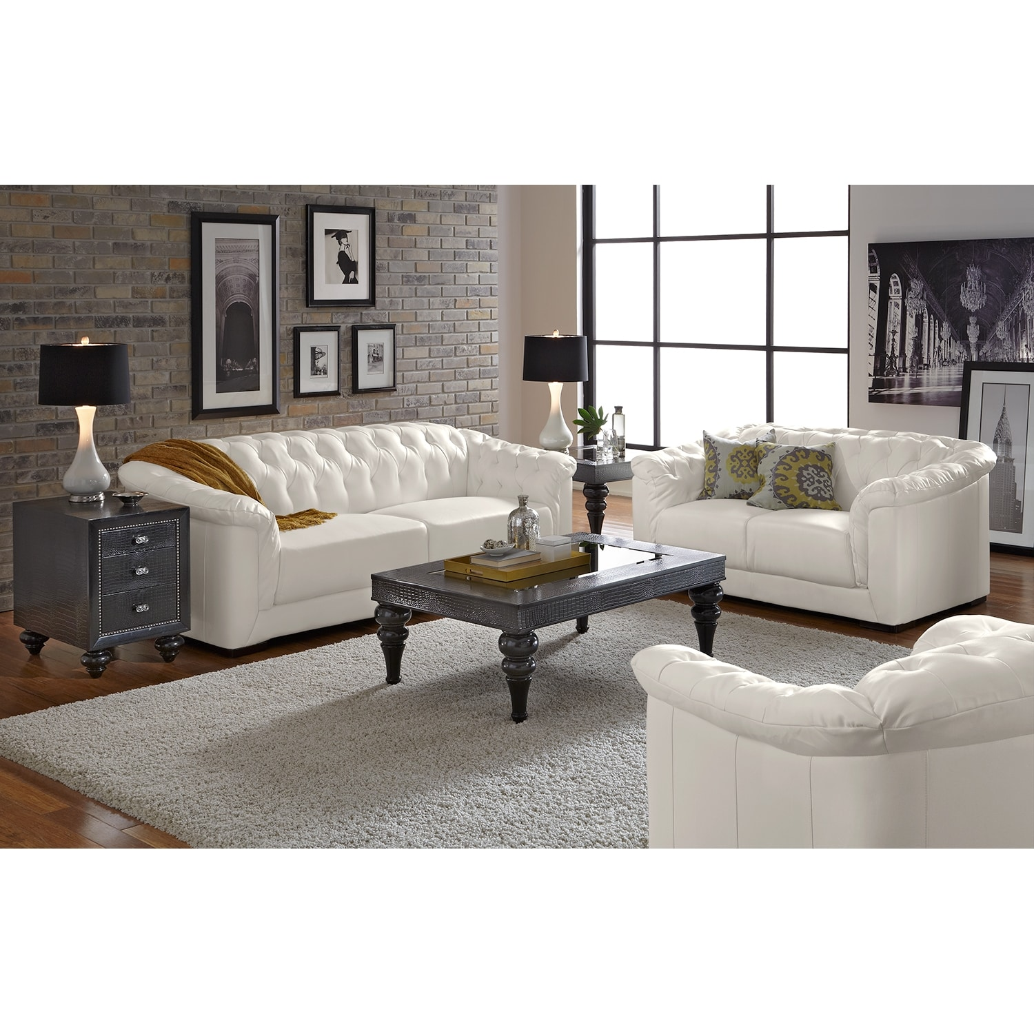 Giorgio leather 2 pc living room value city furniture for Living furniture sale