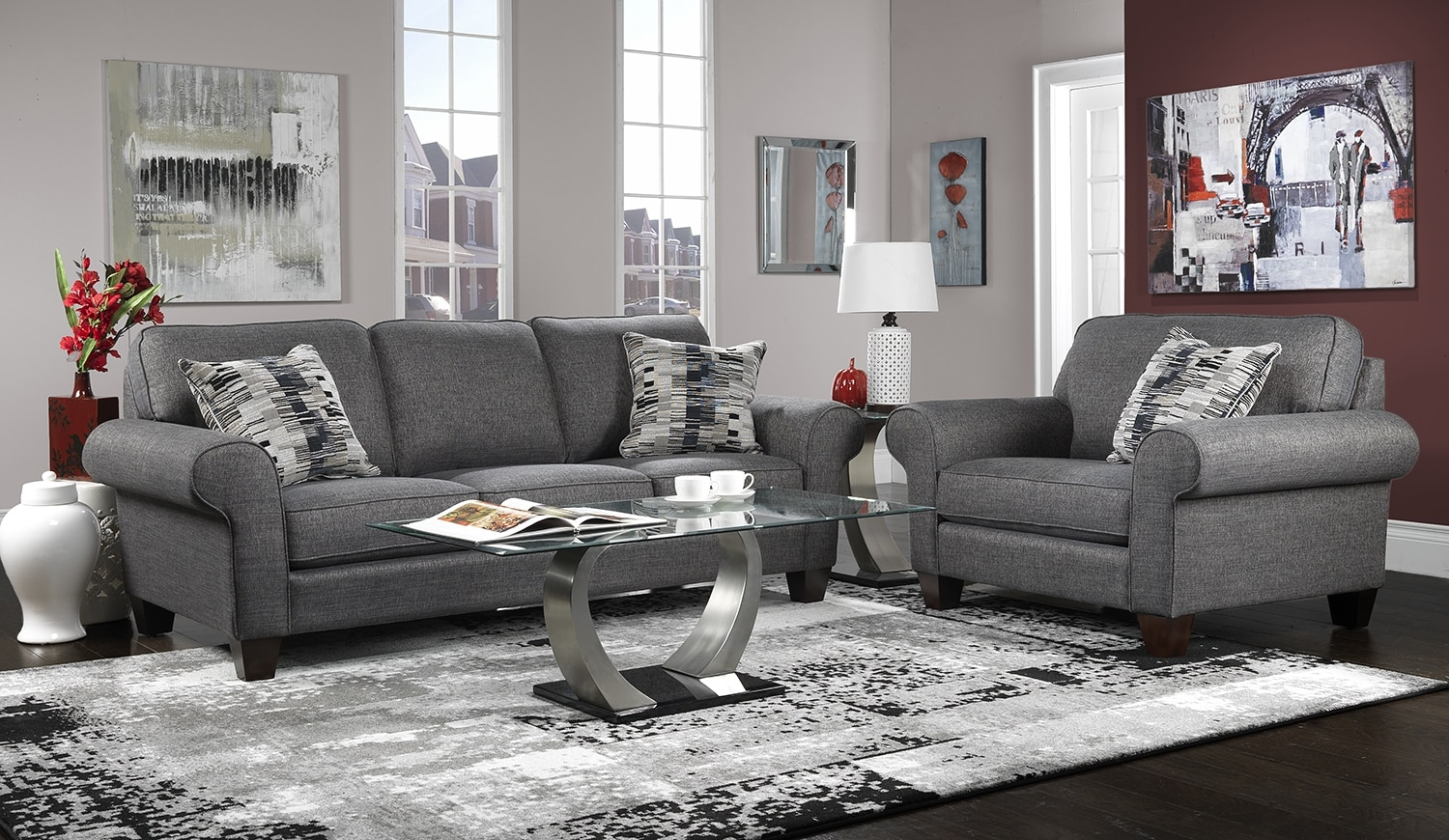 Drake 2 Pc. Living Room Package w/ Chair - Grey