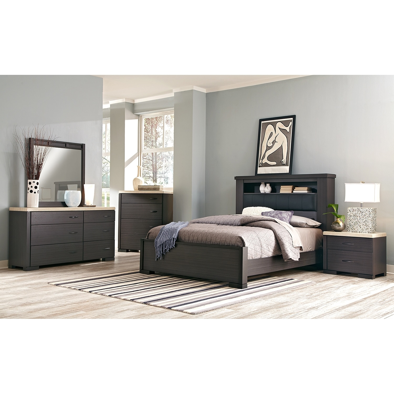 Camino 7 piece queen bedroom set charcoal and ivory for Bedroom furniture sets queen