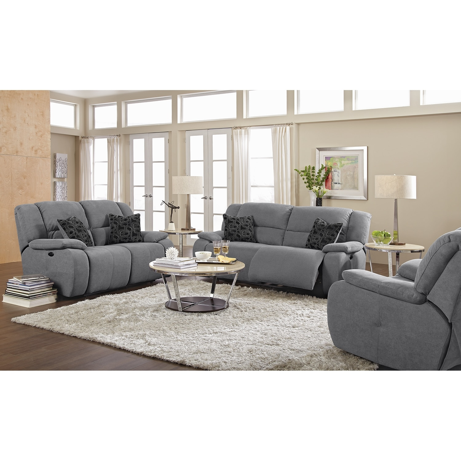 Fortuna gray power reclining sofa for Small living room furniture for sale