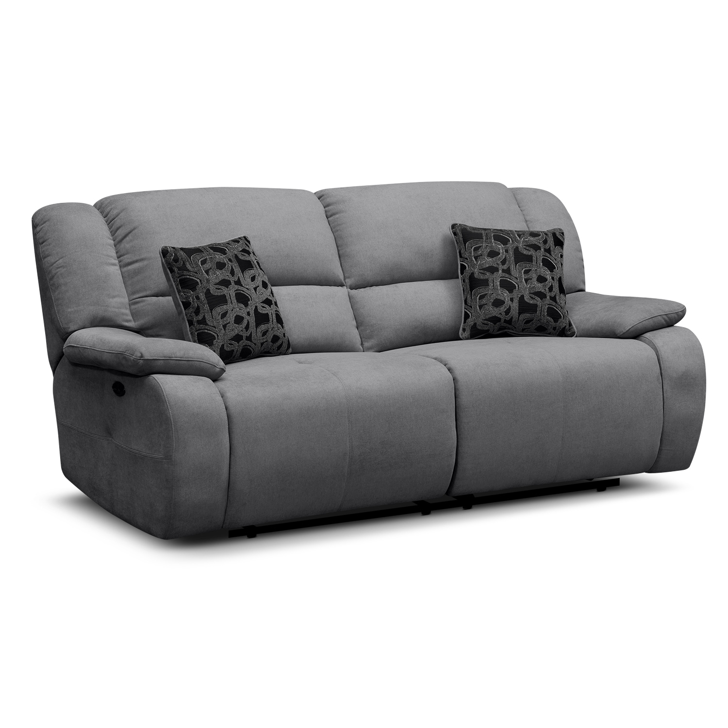 Living Room Furniture - Fortuna Gray Power Reclining Sofa