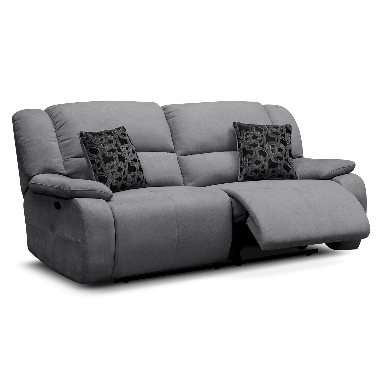 Destin Gray Power Reclining Sofa American Signature